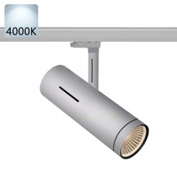 SYDNEY Stromschiene Strahler LED   40W   4000K   Hell Grau   3 Phasen - Schienensystem   Hochvolt    Stromschienen Spot Schienen Lampe Leuchte Lichtschiene Schaufensterbeleuchtung Laden Shop Beleuchtung