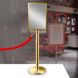 ROYAL   A4 Info Tafel   Personen Leitsystem   Tau & Kordel   Gold    Schild Abgrenzungs Ständer Absperr Kordel Pfosten