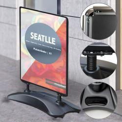 SEATTLE | Plakat Ständer | A1 | Schwarz&Grau | Premium  | Kunden Stopper Werbe Tafel Aufsteller Gehweg Träger