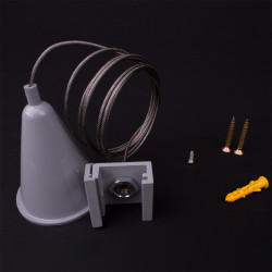 Aufbau - Drahtseilabhängung 1500mm | Hell Grau | 3 Phasen  | Deckenabhängung | Schienensystem Schiene Stromschien Hochvolt
