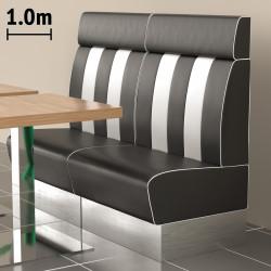(NEW) American 3 | Gastro Bank | B100xH128cm | Schwarz & Weiß  | Diner Bistro Sitzbank Lounge Polster Restaurant