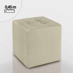 TEXAS Bistro Polsterhocker 45x45cm | Creme | Quadratisch | Chesterfield Button | Oben | Gastro Sitzhocker Sitzwürfel Würfelhocker Loungehocker