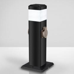 ERIKSON Sockelleuchte + Steckdose | 2xFach | Anthrazit  | Pollerleuchte Steckdosensäule Wegeleuchte Gartensteckdose Außensteckdose