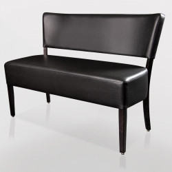 LUCA Bistro Sitzbank 1,2m   Leder   Schwarz    Gastro Bank Lounge Stuhl Polster