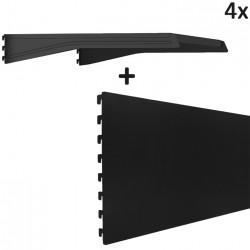 MANHATTAN 4x Gondel Regalboden + 4x Gondel Regal Rückwand