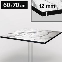 Bistro Terrassen Tischplatte | 60x70cm | Weiß Mamor | 100% HPL | Compact Werzalit Gastro Restaurant Garten Outdoor Aussen Wetterfest Tisch Gastronomie Stehtisch Möbel