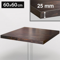 ITALIA Bistro Tischplatte | 60x60cm | Wenge | Holz | Gastro Restaurant Holztischplatte Tisch Gastronomie Stehtisch Möbel