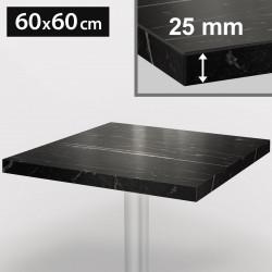 ITALIA Bistro Tischplatte | 60x60cm | Schwarz Marmor | Holz | Gastro Restaurant Holztischplatte Tisch Gastronomie Stehtisch Möbel
