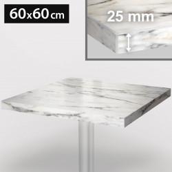 ITALIA Bistro Tischplatte | 60x60cm | Weiß Marmor | Holz | Gastro Restaurant Holztischplatte Tisch Gastronomie Stehtisch Möbel