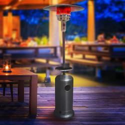 ABBEY Gasheizstrahler 2,2m + Tisch | Schwarz | 12kW  | Heizpilz Standheizstrahler Terrassenheizstrahler Terrassenheizer Heizpyramide Wärmestrahler