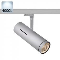 SYDNEY Stromschiene Strahler LED | 40W | 4000K | Hell Grau | 3 Phasen - Schienensystem | Hochvolt  | Stromschienen Spot Schienen Lampe Leuchte Lichtschiene Schaufensterbeleuchtung Laden Shop Beleuchtung