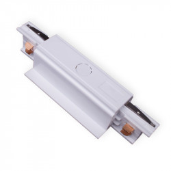 Flush-mounted longitudinal connector with feeder | 110 V - 415 V | White | 3 phases | High voltage | Central feed - Central feeder - 3-phase connector | Protective conductor right and left | Flush-mounted track . Flush-mounted busbar . Wing rail . 3-phase