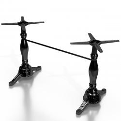 CHARLES Bistro Terrassen Doppeltischgestell   H72cm   Schwarz   Gusseisen   2+2 Fuß   Outdoor    Doppel Tischgestell Tisch Gestell Tischfuß Tischbein Untergestell Tischsäule