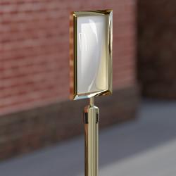 OSCAR | A4 Info Tafel | Gold | Aufsatz Gurt Pfosten  | Schilder Halter Schild Personen Leitsystem Ständer Abgrenzungs Absperr Airport Absperrung
