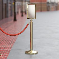 ROYAL | A4 Info Tafel | Gold | Aufsatz Tau Pfosten  | Schilder Halter Schild Personen Leitsystem Kordel Ständer Absperr Abgrenzungs