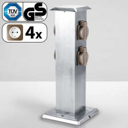 DAVID Steckdosensäule 400mm   4xFach   Edelstahl    Gartensteckdose Außensteckdose Steckdosenverteiler