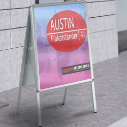 AUSTIN Plakatständer | A1 | 25mm | Classic  | Werbetafel Kundenstopper Werbeaufsteller Gehwegaufsteller Werbeträger