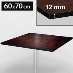 Bistro Terrassen Tischplatte | 60x70cm | Dark Walnuß | 100% HPL | Compact Werzalit Gastro Restaurant Garten Outdoor Aussen Wetterfest Tisch Gastronomie Stehtisch Möbel