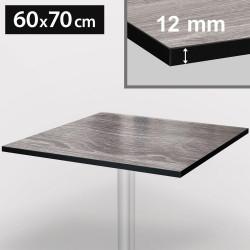 Bistro Terrassen Tischplatte | 60x70cm | Grau | 100% HPL | Compact Werzalit Gastro Restaurant Garten Outdoor Aussen Wetterfest Tisch Gastronomie Stehtisch Möbel