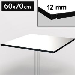 Bistro Terrassen Tischplatte | 60x70cm | Weiß | 100% HPL | Compact Werzalit Gastro Restaurant Garten Outdoor Aussen Wetterfest Tisch Gastronomie Stehtisch Möbel