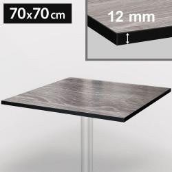 Bistro Terrassen Tischplatte   70x70cm   Grau   100% HPL   Compact Werzalit Garten Outdoor Aussen Gastro Restaurant Wetterfest Tisch Gastronomie Stehtisch Möbel