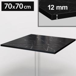Bistro Terrassen Tischplatte   70x70cm   Schwarz Mamor   100% HPL   Compact Werzalit Garten Outdoor Aussen Gastro Restaurant Wetterfest Tisch Gastronomie Stehtisch Möbel