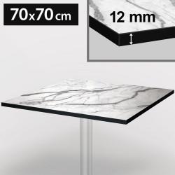 Bistro Terrassen Tischplatte   70x70cm   Weiß   100% HPL   Compact Werzalit Garten Outdoor Aussen Gastro Restaurant Wetterfest Tisch Gastronomie Stehtisch Möbel