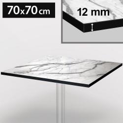 Bistro Terrassen Tischplatte   70x70cm   Weiß Mamor   100% HPL   Compact Werzalit Garten Outdoor Aussen Gastro Restaurant Wetterfest Tisch Gastronomie Stehtisch Möbel