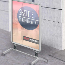 SEATTLE | Plakat Ständer | A1 | Grau | Premium  | Werbe Kunden Stopper Tafel Aufsteller Gehweg Träger