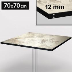 Bistro Terrassen Tischplatte   70x70cm   Vintage Weiß   100% HPL   Compact Werzalit Garten Outdoor Aussen Gastro Restaurant Wetterfest Tisch Gastronomie Stehtisch Möbel