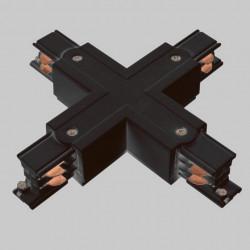 Aufbau X. Verbinder mit Einspeiser | 110V - 415V | Schwarz | 3 Phasen | Hochvolt  | Mittel Einspeisung Einspeiser Verbinder | Schutzleiter Universal Links & Rechts | Schienensystem Stromschiene Schiene