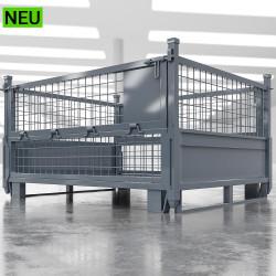 EURO | Gitter Box B125xT100xH85cm | Klappbar | Anthrazit  | DB Lager Industrie