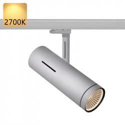 Strømskinne Spotlights LED | 10W | 2700K | Lys Grå | 3-faset | Højvolt  | Strømskinnespotlights . Strømskinne Spot . 3-faset Spotlights . 3-faset Spot . 3-faset Lampe . 3-faset Lys . Skinnespotlights . Skinnespot . Skinnelys . Skinnelampe . Skinnesystem .