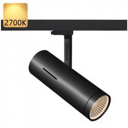 Strømskinne Spotlights LED | 20W | 2700K | Sort | 3-faset | Højvolt  | Shopbelysning . Spotlightskinne . Lysskinne Spotlights . Strømskinnespotlights . Strømskinne Spot . 3-faset Spotlights . 3-faset Spot . 3-faset Lampe . 3-faset Lys . Skinnespotlights .