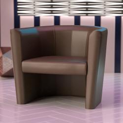 LUIS SMALL Bistro Clubsessel | Leder | Dunkelbraun | Sessel Bistro Gastro Hotel Restaurant Lounge Cocktail Disco