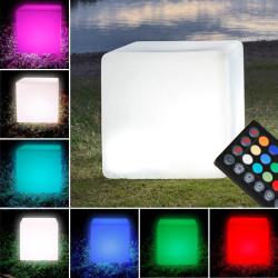 PARADISO Lounge Leuchtwürfel 30x30cm   LED RGB   Akku   Aussen Sitzwürfel Leuchte Würfelleuchte Leuchtmöbel Würfel Garten Lampe Leuchtobjekt Lichtobjekt