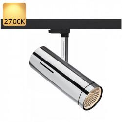 Strømskinne Spotlights LED | 20W | 2700K | Krom | 3-faset | Højvolt  | Butik Spotlights . Butiksbelysning . Strømskinnespotlights . Strømskinne Spot . 3-faset Spotlights . 3-faset Spot . 3-faset Lampe . 3-faset Lys . Skinnespotlights . Skinnespot . Skinne