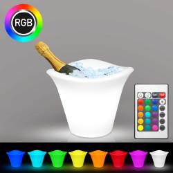 TROPIC Sektkühler | 6x0,75l | LED RGB | Akku | Eisbehälter Weinkühler Eiskübel Eiseimer Flaschenkühler Eiswürfelbehälter Champagnerkühler Eisbox Champagnerschale