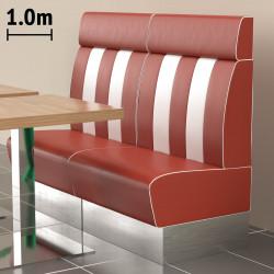 (NEW) American 3 | Gastro Bank | B100xH128cm | Rot & Weiß  | Diner Bistro Sitzbank Lounge Polster Restaurant