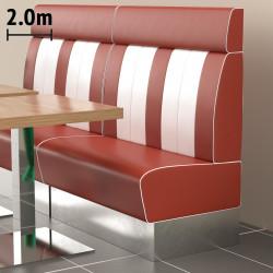 (NEW) American 3 | Gastro Bank | B200xH128cm | Rot & Weiß  | Diner Bistro Sitzbank Lounge Polster Restaurant