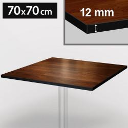 Bistro Terrassen Tischplatte   70x70cm   Nußbaum   100% HPL   Compact Werzalit Garten Outdoor Aussen Gastro Restaurant Wetterfest Tisch Gastronomie Stehtisch Möbel