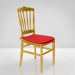 ESTELA Hochzeitsstuhl | Gold + Sitzkissen Rot | Bindeband Hinten Bankettstuhl Saalstuhl Stapelstuhl Hochzeit Bankett Saal Stapel Stuhl Stühle
