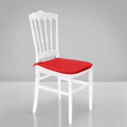 ESTELA Hochzeitsstuhl | Weiß + Sitzkissen Rot | Bindeband Hinten Bankettstuhl Saalstuhl Stapelstuhl Hochzeit Bankett Saal Stapel Stuhl Stühle