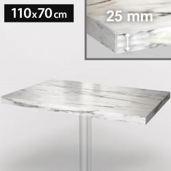 ITALIA Bistro Tischplatte   110x70cm   Weiß Marmor   Holz   Gastro Restaurant Holztischplatte Tisch Gastronomie Stehtisch Möbel