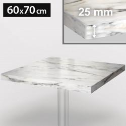 ITALIA Bistro Tischplatte   60x70cm   Weiß Marmor   Holz   Gastro Restaurant Holztischplatte Tisch Gastronomie Stehtisch Möbel