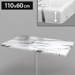 Werzalit - Bistro Tischplatte   110x60cm   Weiß Marmor    Topalit Hpl Compact Kompakt Terrassen Garten Outdoor Aussen Gastro Restaurant Wetterfest Tisch Gastronomie Stehtisch Möbel