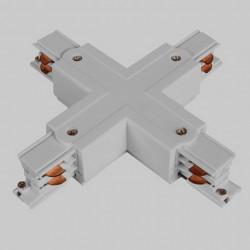 Aufbau X. Verbinder mit Einspeiser   110V - 415V   Hell Grau   3 Phasen   Hochvolt    Mittel Einspeisung Einspeiser Verbinder   Schutzleiter Universal Links & Rechts   Schienensystem Stromschiene Schiene