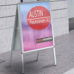 AUSTIN Plakatständer | A2 | 25mm | Classic  | Kundenstopper Werbetafel Werbeaufsteller Gehwegaufsteller Werbeträger