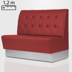 DALLAS Gastro Sitzbank B120xH120cm | Rot | Chesterfield Button  | Bistro Bank Hoch Lounge Polster Restaurant Diner Möbel Bar Sitzmöbel