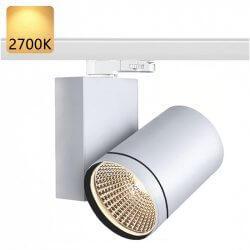 Strømskinne Spotlights LED | 45W | 2700K | Hvid | 3-faset | Højvolt  | Strømskinnespotlights . Strømskinne Spot . 3-faset Spotlights . 3-faset Spot . 3-faset Lampe . 3-faset Lys . Skinnespotlights . Skinnespot . Skinnelys . Skinnelampe . Skinnesystem . Sp